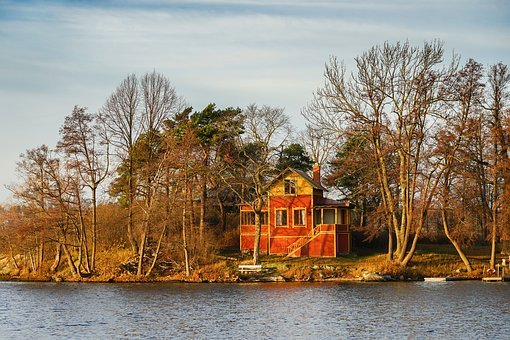 Cottage, Lake, Red, Autumn, Cozy, Scary, House, Water