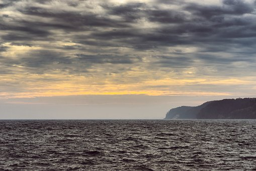 Sea, Weather, Waves, Clouds, Land, Distant, Coast