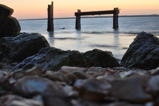 Gurnard, Ruin, Sea, Twilight, Water