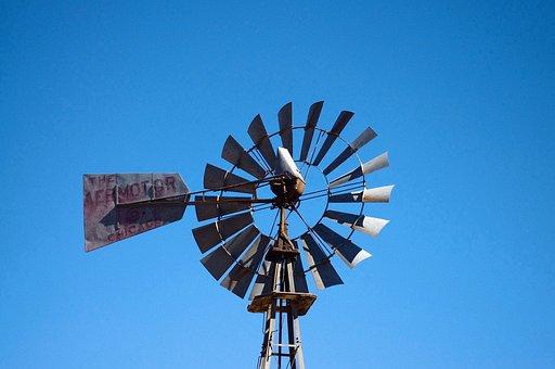 New Mexico Windmill, Windmill, Blue, Sky, Water, Rusty