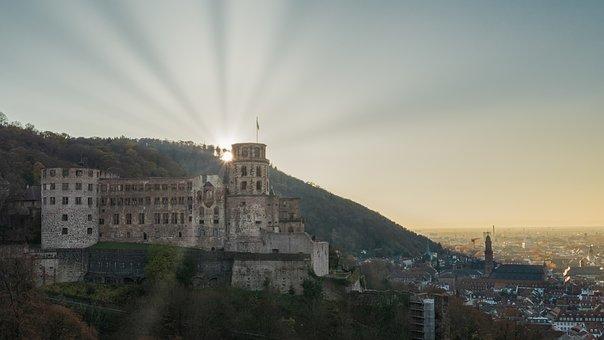 Sun, Castle, Heidelberg, Historic Center, Tourism, Sky