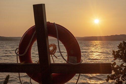 Longing, Canada, Sea, Lifebelt, Sun, Sunset, Cross