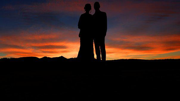 Sunset, Wedding, Romance, Love, Couple, Romantic, Human