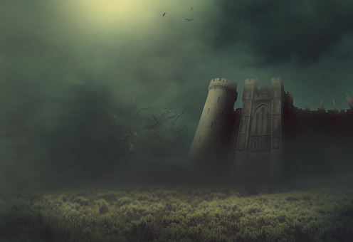 Fantasy, Castle, Fog, Meadow, Tree, Bats