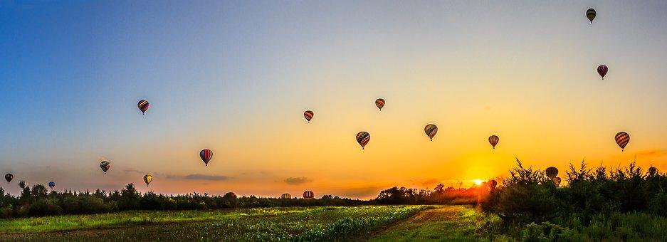 Balloons, Sunset, Wallpaper, Sky, Balloon, Leisure