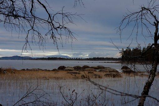 Lake, Water, Mountains, Landscape, Snow, Fog