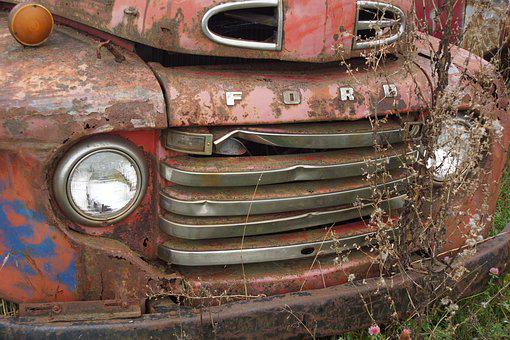 Rusty, Truck, Old, Abandoned, Weeds, Red
