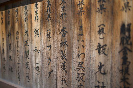 Signage, Wooden, Wood, Signboard, Brown, Japanese