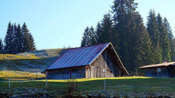 Alpine, Barn, Hut, Autumn, Mountains