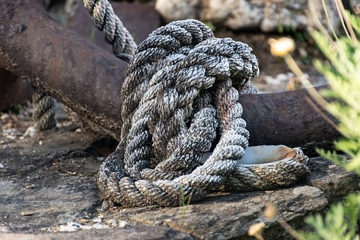 Rope, Anchor, Antique, Garden, Pile Of Rope