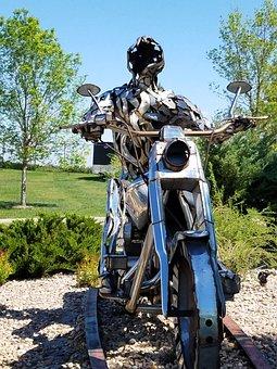 Motorcycle, Sculpture, Monument, Figure, Bike