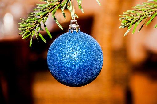 Christmas Ornament, Christmas, Ball, Blue