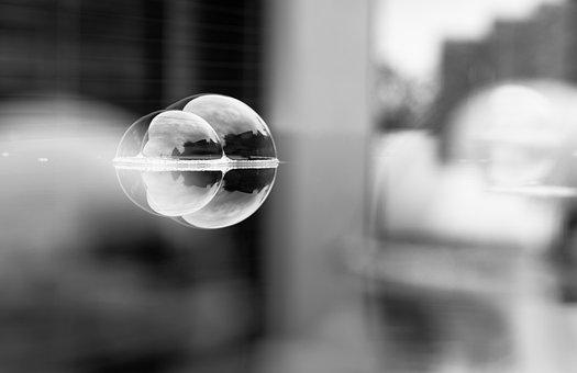 Soap Bubbles, Water, Mirroring, Black And White, Bokeh