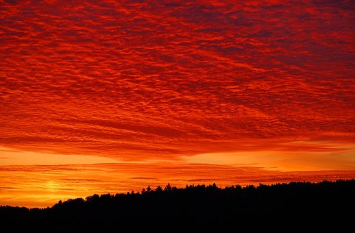 Sunset, Sunrise, Sky, Bright Red, Burning Sky, Clouds