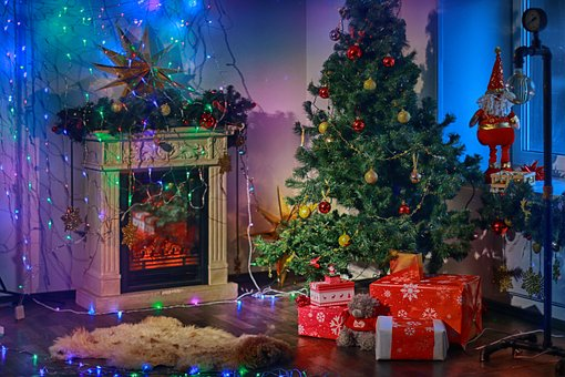 Christmas, Interior, Cosy, Low Light, Fireplace