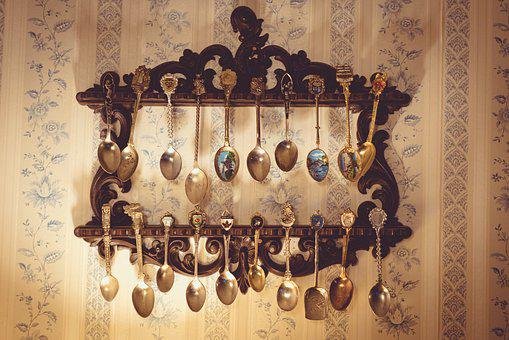 Collection, Hanging, Metal, Old, Rare, Spoons, Wall