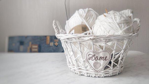 Comfort, Yarn, Basket, White, Needlework, House