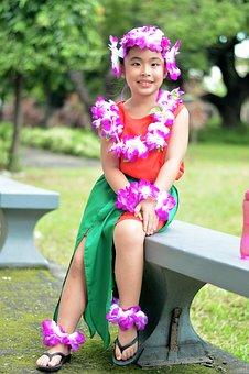 Hawaiian, Girl, Costume, Hula