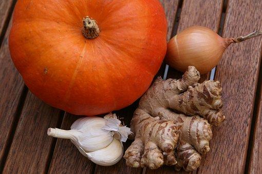 Pumpkin, Hokkaido, Onion, Ginger, Garlic, Orange