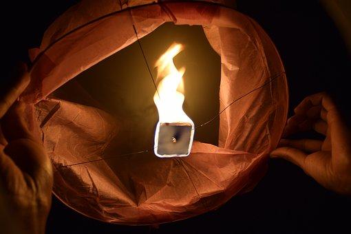 Fire, Skylantern, Night, Festival, India, West Bengal