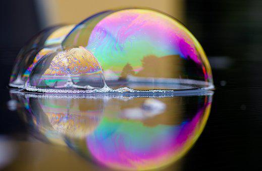 Soap Bubbles, Iridescent, Reflection, Mirroring