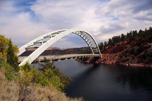 Flaming Gorge Bridge, Bridge, Lake, Suspension, Water