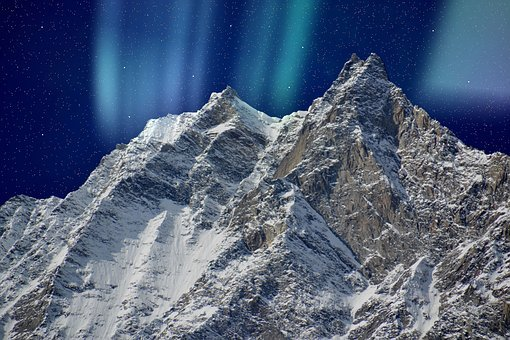 Sowing, Northern Lights, Mountains, Snow, Landscape