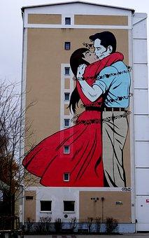 Malmö, Mural, Building, Painting, Facade, Wall