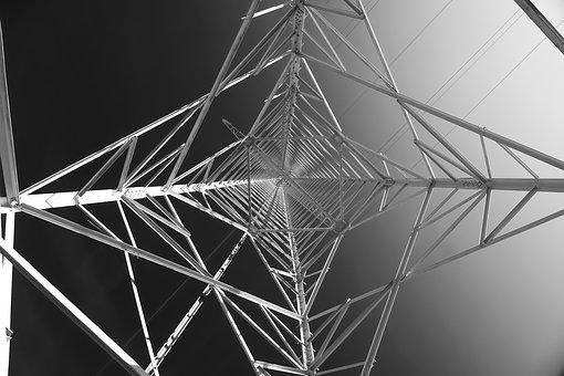 Strommast, Perspective, High Voltage, Pylon, Current