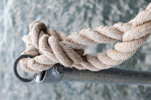 Rope, Knot, Connected, Knotted, Sea, Metal, Port