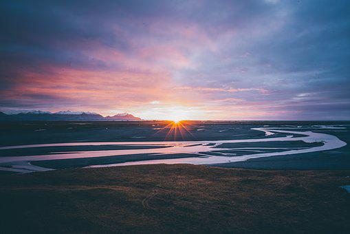 Nature, Photography, Iceland, River, Sun, Sunrise