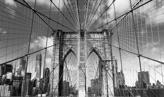 Brooklyn, Bridge, Skyline, Walking, Usa, Cityscape