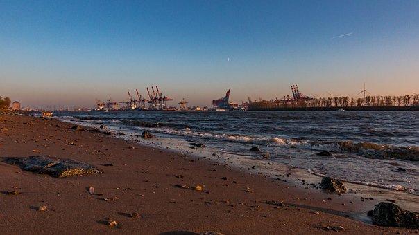 Hamburg, Elbe, Maritime, Water, Harbour Cranes, Sky