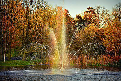Fountain, Water, Spray, Drops, Spouting, Pond, Rainbow