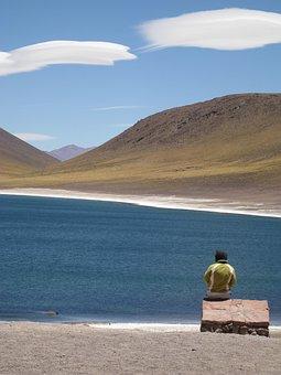 Chile, High North, Atacama Desert, Blue Lagoon, Clouds