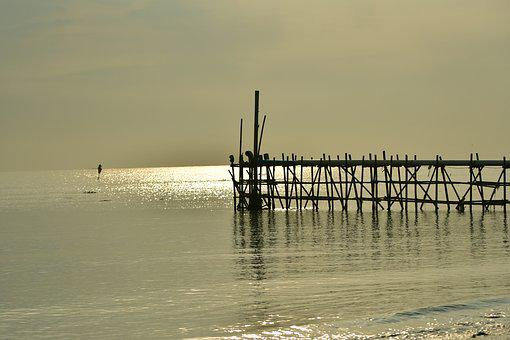 Dawn, Morning, Jetty, Beach, Structure, Nature, Light