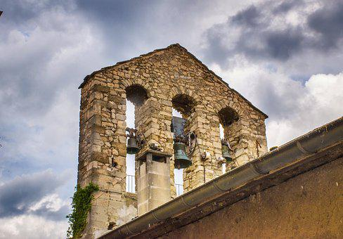 Bell Tower, Gable, Eglise, Medieval, Ancient, Aged