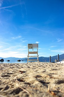 Chair, Beach, Lake, Tahoe, Blue, Sea, Nevada, Fall