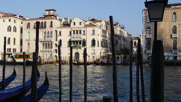 Venice, Italy, Water, Channel, Gondola