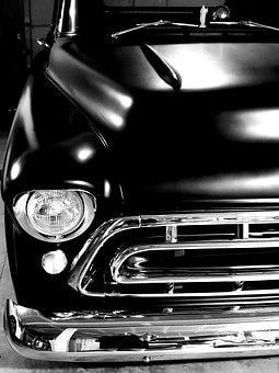 Chevy, Truck, 1957, Black, Classic, Hot Rod, Grill