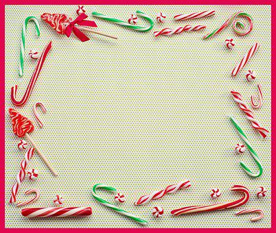 Christmas, Border, Frame, Peppermints, Candy Canes