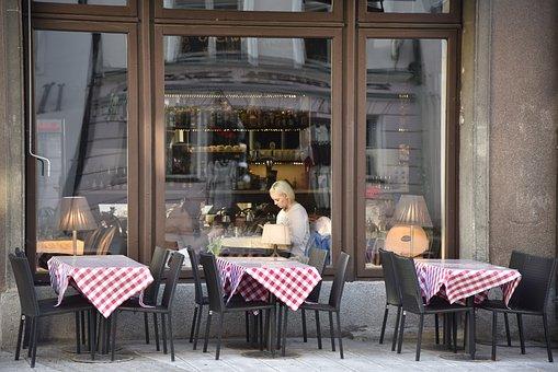 Café, Girl, Street, Coffee, City, Tallinn, Vacation