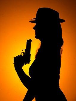 Girl, Gun, Woman, Silhouette, Female, Shoot, Weapon