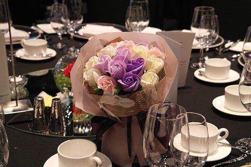 Bouquet, Dining, Flowers, Romantic, Congratulations