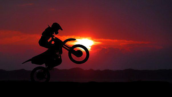 Sunrise, Motorcycle, Sport, Silhouette, Sky, Human, Fun