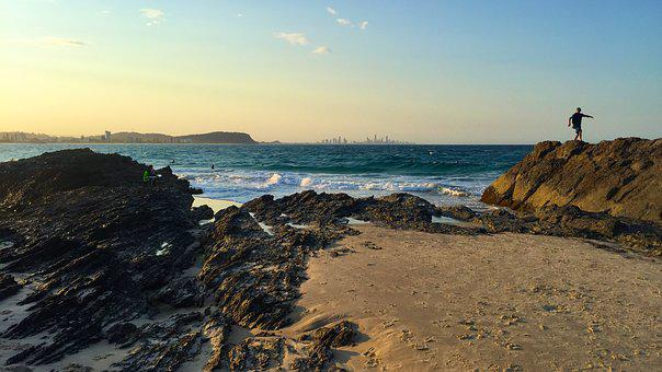 Australia, Gold Coast, Beach, Sea, Ocean, Queensland
