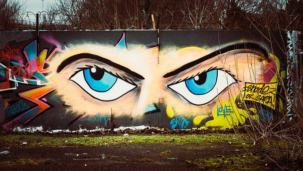 Graffiti, Wall, Eyes, Color, Mural, Paint, Painting
