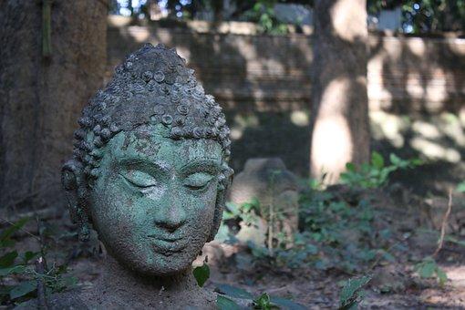 Buddha, Rock, Old, Neck, Thailand, Moss, Statue, Head