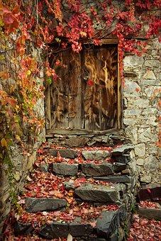 Autumn Mood, Autumn Colors, Door, Old, Entrance, Wooden