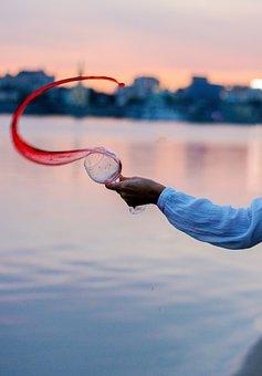 Wine, Hand, Glass, Red Wine, Girl's Hand, Sunset, River